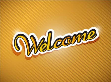 locution: gold welcome card illustration design over a gold background Stock Photo