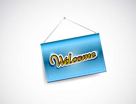welcome hanging banner illustration design over a white background