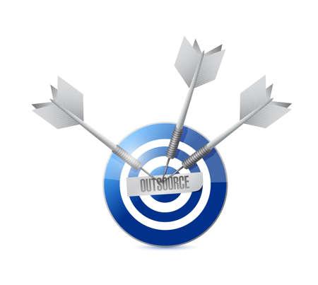 outsource target and darts illustration design over a white background illustration