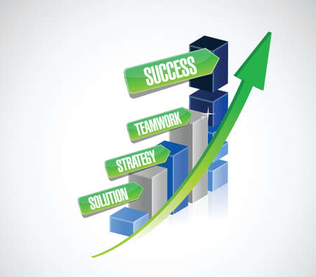 best practices: strategy solution, teamwork business success graph illustration design over a white background