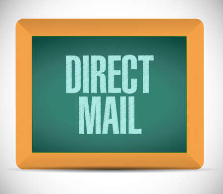 direct mail: direct mail board sign. illustration design over a white background