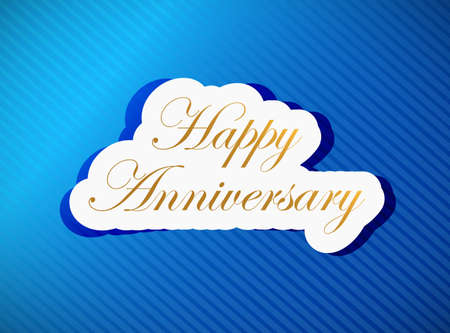 upscale: blue happy anniversary card illustration design over a blue background
