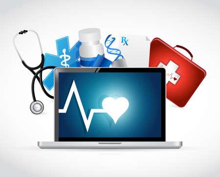 medical equipment: computer medical concept illustration design over a white background