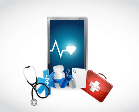 tablet medische concept illustratie ontwerp op een witte achtergrond