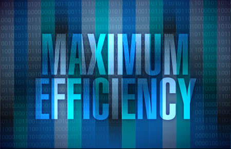 maximum: maximum efficiency sign illustration design over a binary background