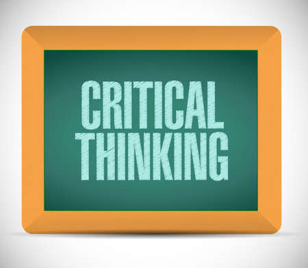 conclusions: critical thinking board sign illustration design over a white background