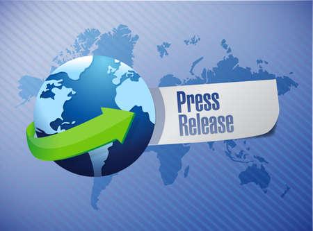 international press release sign illustration design over a world map background