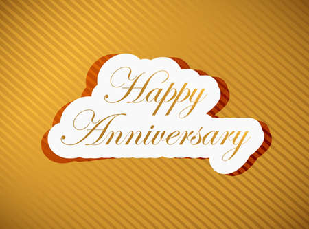upmarket: happy anniversary gold sign illustration design over a gold background