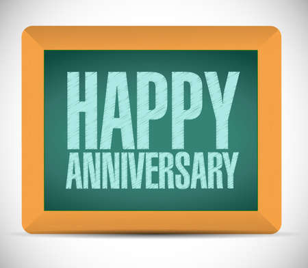 happy anniversary board sign illustration design over a white background