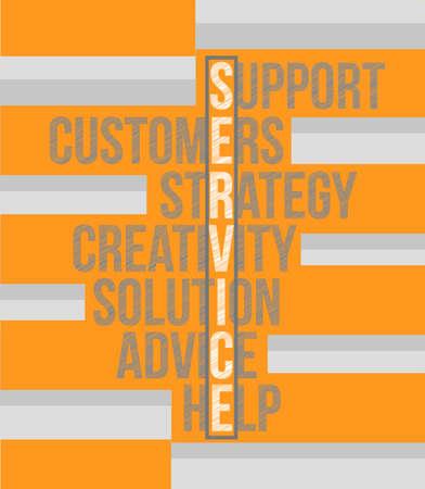 communicative: service word selection illustration design over an orange and grey background
