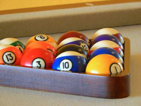 billiards hall: Billiard balls in a pool table Stock Photo