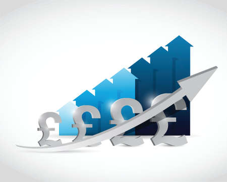 economic recovery: pound currency business graph illustration design over a white background