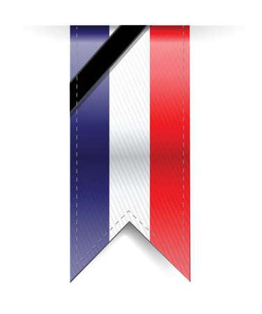 france sad black ribbon banner illustration design over a white background Иллюстрация