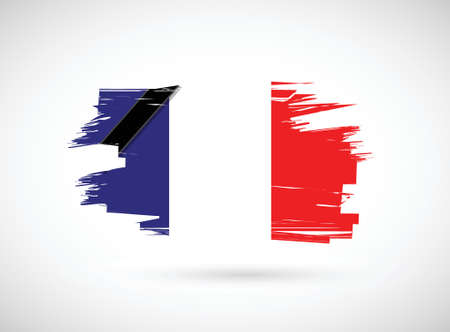 france ink flag illustration design over a white background