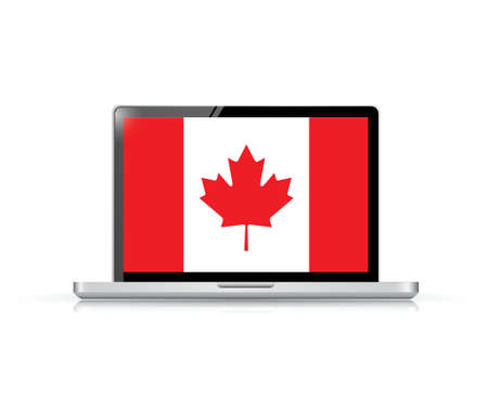 canadian flag: canada flag computer laptop illustration design over a white background Illustration