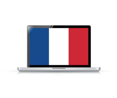 electronic voting: france flag computer laptop illustration design over a white background