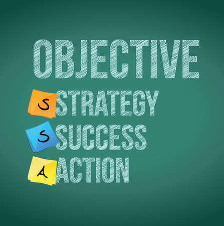 objective steps on a board. illustration design over a green background Çizim