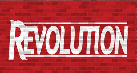 grasp: revolution message illustration design over a red brick background