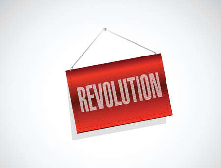 hanging banner: revolution hanging banner illustration design over a white background