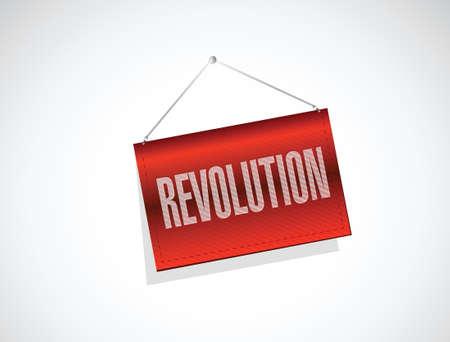molotov: revolution hanging banner illustration design over a white background