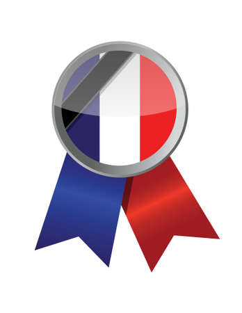 french flag: france seal and black ribbon illustration design over a white background