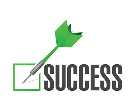 proceed: success check dart illustration design over a white background