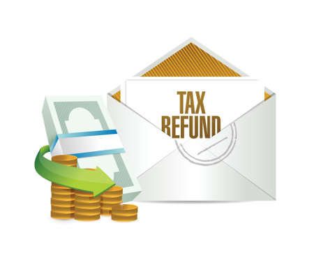 tax refund envelope and bills. illustration design over a white background