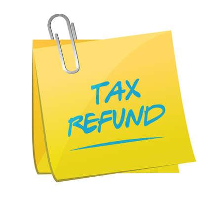 refund: tax refund memo post illustration design over a white background