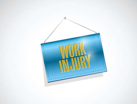 to sue: work injury hanging banner illustration design over a white background