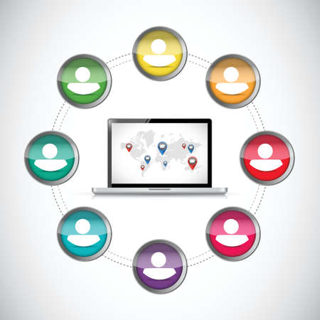 changing colors: people diversity computer connection. illustration design over a white background