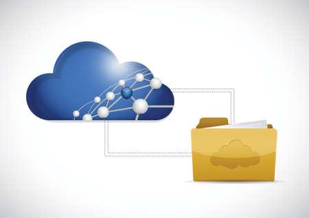 file transfer: cloud computing folder network illustration design over a white background