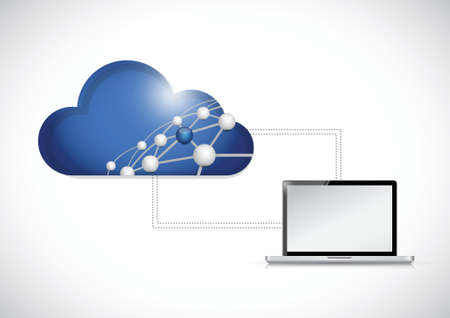 cloud computing network and computer illustration design over a white background