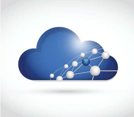 qs: cloud computing sphere network illustration design over a white background Illustration