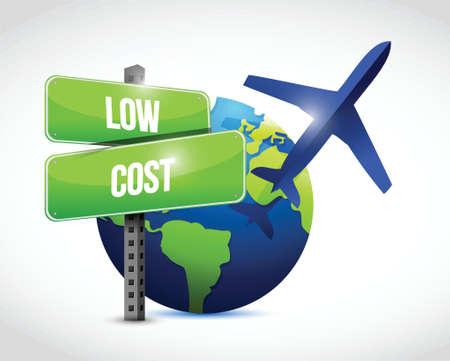 low cost reizen wereldbol illustratie ontwerp op een witte achtergrond