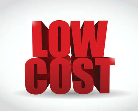 lage kosten 3d tekst teken illustratie ontwerp op een witte achtergrond