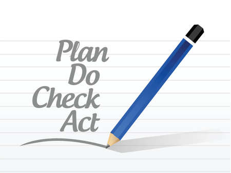 qs: plan do check act message sign illustration design over a white background