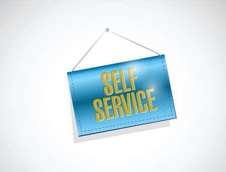 hanging banner: self service hanging banner illustration design over a white background Illustration