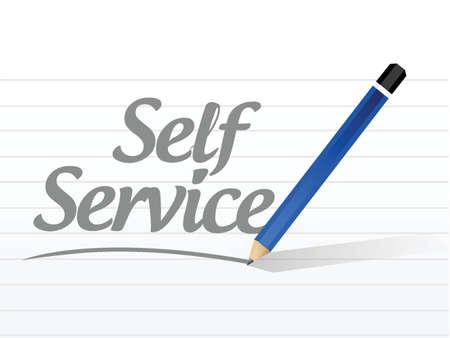 self help: self service sign message illustration design over a white background Illustration