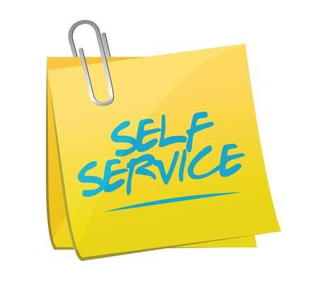 self service post it memo illustration design over a white background Çizim