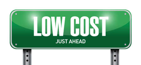 low cost: low cost street sign illustration design over a white background