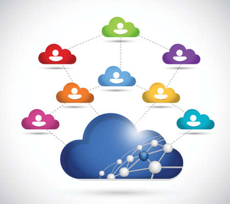 cloud computing people network illustration design over a white background Vector