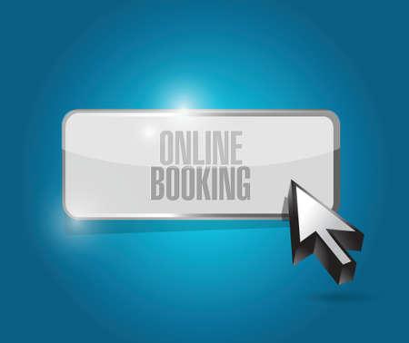 online reserveren knop illustratie ontwerp op een blauwe achtergrond Stock Illustratie