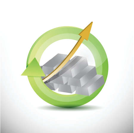 silver bullion: silver prices cycle. business on the move. illustration design over a white background