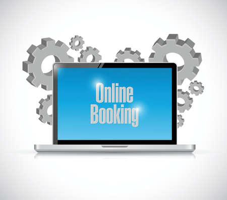 registration mark: online booking industrial gear laptop illustration design over a white background