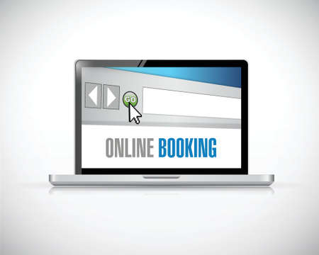 online booking browser concept illustration design over a white background