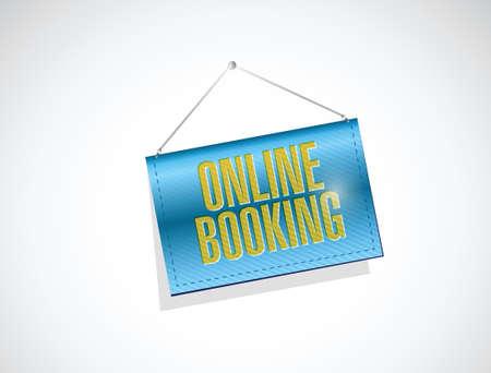 hanging banner: online booking hanging banner illustration design over a white background