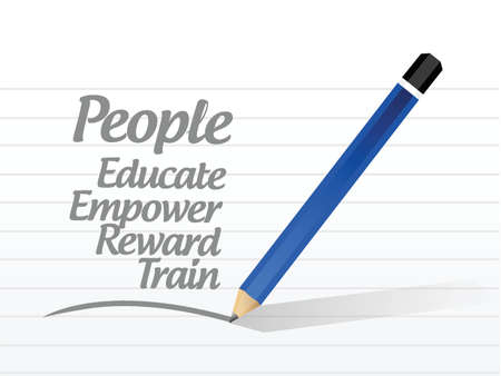 employee development: people list message sign illustration design over a white background Illustration