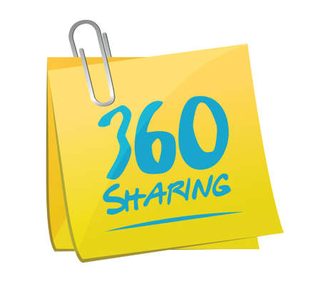 memo: 360 sharing memo post illustration design over a white background