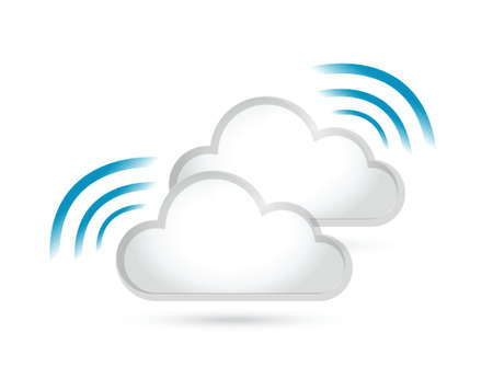 telecommunications equipment: cloud set and wifi signal sign illustration design over a white background