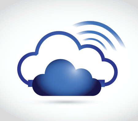 cloud and wifi signal sign illustration design over a white background